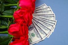 Ρόδινα τριαντάφυλλα με τους λογαριασμούς δολαρίων αντί ενός δώρου Πρότυπο για την 8η Μαρτίου, ημέρα της μητέρας, ημέρα του βαλεντ Στοκ Εικόνα