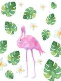Ρόδινα φλαμίγκο watercolor ελεύθερη απεικόνιση δικαιώματος