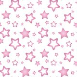 Ρόδινα nacre αστέρια σε ένα άσπρο άνευ ραφής διάνυσμα σχεδίων υποβάθρου Ελεύθερη απεικόνιση δικαιώματος