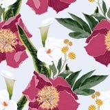 Ρόδινα peony λουλούδια με callas το άνευ ραφής σχέδιο ανθοδεσμών κρίνων και χορταριών Απεικόνιση ύφους Watercolor διανυσματική απεικόνιση