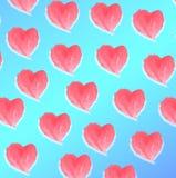 Ρόδινες καρδιές Watercolor στο μπλε υπόβαθρο Απεικόνιση αποθεμάτων