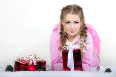 ρόδινες νεολαίες φτερών σακακιών κοριτσιών Στοκ φωτογραφίες με δικαίωμα ελεύθερης χρήσης