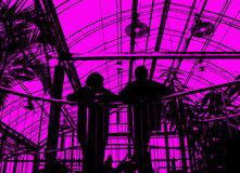 ρόδινες σκιαγραφίες ανθρώπων Στοκ Φωτογραφίες