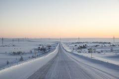 Ρόδινη αυγή στο tundra παντού άσπρο χιόνι κανένα δρόμος στοκ εικόνες με δικαίωμα ελεύθερης χρήσης