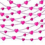Ρόδινη γιρλάντα καρδιών σε ένα άσπρο υπόβαθρο r διανυσματική απεικόνιση