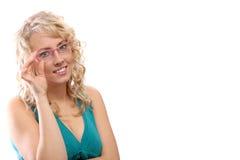ρόδινη γυναίκα γυαλιών Στοκ Εικόνες