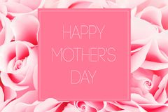 Ρόδινη ευχετήρια κάρτα των τριαντάφυλλων με την ευτυχή ημέρα motherï ¿ ½ ¿ ½ s επιγραφής ï Στοκ Φωτογραφία