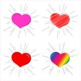 Ρόδινη καρδιά κοκκίνου και ουράνιων τόξων με το σύμβολο ακτίνων της αγάπης και του γάμου για τη διακοσμητική καρδιά ημέρας του βα ελεύθερη απεικόνιση δικαιώματος