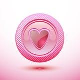 Ρόδινη καρδιά κουμπιών Στοκ Εικόνα