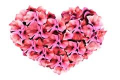 Ρόδινη καρδιά λουλουδιών Διανυσματική απεικόνιση