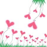 Ρόδινη καρδιά με την πράσινη χλόη στο άσπρο υπόβαθρο απεικόνιση αποθεμάτων