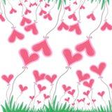 Ρόδινη καρδιά με την πράσινη χλόη στο άσπρο υπόβαθρο διανυσματική απεικόνιση