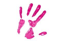 ρόδινη τυπωμένη ύλη χεριών Στοκ φωτογραφίες με δικαίωμα ελεύθερης χρήσης