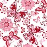 Ρόδινη floral άνευ ραφής διακόσμηση με τις πεταλούδες Διακοσμητικό ornam Στοκ φωτογραφίες με δικαίωμα ελεύθερης χρήσης