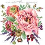 Ρόδινη peony απεικόνιση σύνθεση λουλουδιών watercolor για τα συγχαρητήρια απεικόνιση αποθεμάτων