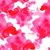 Ρόδινοι άνευ ραφής λεκέδες watercolor σχεδίων στο άσπρο υπόβαθρο Στοκ Εικόνες