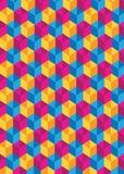 Ρόδινοι μπλε και κίτρινοι κύβοι που κάνουν το χαριτωμένο σχέδιο ελεύθερη απεικόνιση δικαιώματος