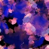 Ρόδινοι, μπλε και πορφυροί άνευ ραφής λεκέδες watercolor σχεδίων στο μαύρο υπόβαθρο Αφηρημένο σχέδιο watercolor για το υπόβαθρο Στοκ Εικόνες