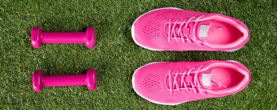 Ρόδινοι πάνινα παπούτσια και αλτήρες για την άσκηση της ικανότητας σε έναν πράσινο χορτοτάπητα, μια μακριά διαδρομή στοκ εικόνα με δικαίωμα ελεύθερης χρήσης