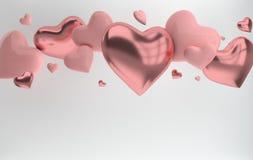 Ρόδινοι στιλπνοί λαμπρός και το μέταλλο ρόδινοι αυξήθηκε καρδιές στο άσπρο υπόβαθρο με την επίδραση αντανάκλασης Ευχετήρια κάρτα  ελεύθερη απεικόνιση δικαιώματος