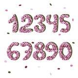 Ρόδινοι confetty αριθμοί doodle abc ζωηρόχρωμο διάνυσμα ύφους τύπων χαρακτήρων σχεδίου αλφάβητου Στοκ Εικόνες