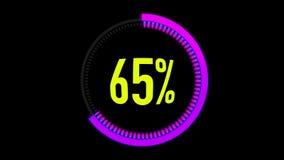 Ρόδινος ή πορφυρός φραγμός φόρτωσης ζωτικότητας με το άλφα κανάλι 0-100 τοις εκατό ρόδινος ή πορφυρός κύκλος στο μαύρο υπόβαθρο διανυσματική απεικόνιση