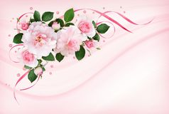Ρόδινος αυξήθηκε λουλούδια, κορδέλλες σατέν και ακτινοβολεί κομφετί σε μια χλωρίδα στοκ εικόνες με δικαίωμα ελεύθερης χρήσης