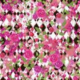 Ρόδινος αυξήθηκε λουλούδια με τα φύλλα και τα διαφορετικά γραπτά rhombuses μεγέθους διανυσματική απεικόνιση