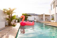 Ρόδινος διογκώσιμος σωλήνας μορφής πουλιών φλαμίγκο που επιπλέει σε μια πισίνα στο κατώφλι στοκ φωτογραφίες