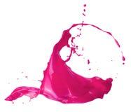 Ρόδινος παφλασμός χρωμάτων που απομονώνεται σε ένα άσπρο υπόβαθρο Στοκ Φωτογραφία