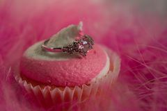 Ρόδινος στρόβιλος Cupcake και ένα δαχτυλίδι καρδιών στοκ εικόνες με δικαίωμα ελεύθερης χρήσης