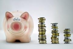 Ρόδινος χοίρος με τις στοίβες των νομισμάτων Στοκ Φωτογραφίες