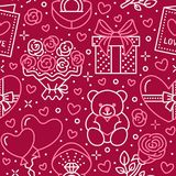 Ρόδινο άνευ ραφής σχέδιο ημέρας βαλεντίνων Αγάπη, ρωμανικά επίπεδα εικονίδια γραμμών - καρδιές, σοκολάτα, teddy αρκούδα, δαχτυλίδ Στοκ φωτογραφία με δικαίωμα ελεύθερης χρήσης