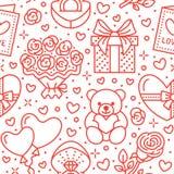 Ρόδινο άνευ ραφής σχέδιο ημέρας βαλεντίνων Αγάπη, ρωμανικά επίπεδα εικονίδια γραμμών - καρδιές, σοκολάτα, teddy αρκούδα, δαχτυλίδ Στοκ εικόνα με δικαίωμα ελεύθερης χρήσης