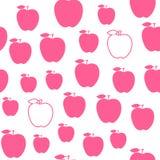 Ρόδινο άνευ ραφής σχέδιο της Apple Χαριτωμένο διάνυσμα τυπωμένων υλών που απομονώνεται στο άσπρο υπόβαθρο Στοκ Εικόνα