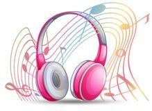 Ρόδινο ακουστικό με τα musicnotes στο υπόβαθρο ελεύθερη απεικόνιση δικαιώματος