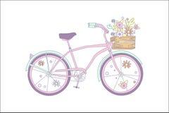 Ρόδινο αναδρομικό ποδήλατο με τα λουλούδια σε μια ξύλινη διανυσματική διανυσματική απεικόνιση