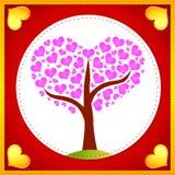 ρόδινο δέντρο καρδιών καρτώ&n Στοκ Φωτογραφία