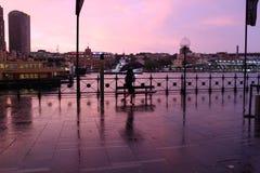 Ρόδινο ηλιοβασίλεμα πέρα από την κυκλική αποβάθρα στοκ εικόνα