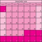 ρόδινο ημερολόγιο αρμόδιων για το σχεδιασμό χρώματος 01 2018 διανυσματική απεικόνιση