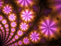 Ρόδινο και πορτοκαλί κυκλικό Fractal φλογών Starburst διανυσματική απεικόνιση