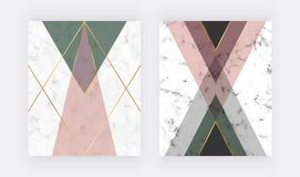 Ρόδινο και πράσινο γεωμετρικό σχέδιο με τις χρυσές γραμμές Σχέδιο μόδας για το έμβλημα, ιπτάμενο, αφίσα, γαμήλια πρόσκληση, κάρτα διανυσματική απεικόνιση