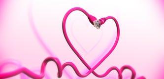 ρόδινο καλώδιο καρδιών Στοκ Φωτογραφίες