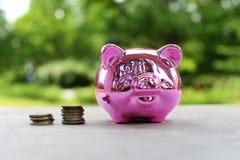Ρόδινο κιβώτιο χρημάτων για τα νομίσματα για την οικονομία στοκ φωτογραφίες με δικαίωμα ελεύθερης χρήσης