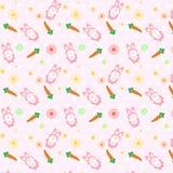 Ρόδινο κουνέλι χαριτωμένο με την έννοια σχεδίων διασποράς καρότων που χρησιμοποιεί για το Κ απεικόνιση αποθεμάτων