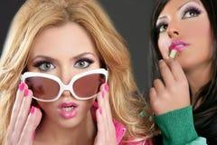 Ρόδινο κραγιόν κοριτσιών ύφους κουκλών μόδας barbie Στοκ Φωτογραφίες