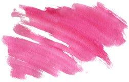 Ρόδινο κτύπημα Watercolor με τη σύσταση βουρτσών ` s που απομονώνεται στην άσπρη, minimalistic ζωγραφισμένη στο χέρι απεικόνιση απεικόνιση αποθεμάτων