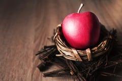 Ρόδινο μήλο στη φωλιά στο ξύλινο υπόβαθρο στοκ φωτογραφίες