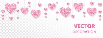Ρόδινο πλαίσιο καρδιών, σύνορα Το διάνυσμα ακτινοβολεί απομονωμένος στο λευκό Για τις κάρτες βαλεντίνων και ημέρας μητέρων, γαμήλ Στοκ Εικόνες