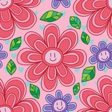 Ρόδινο πορφυρό άνευ ραφής σχέδιο γραμμών χαμόγελου λουλουδιών Στοκ Φωτογραφίες